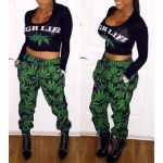 Sexy Women's Scoop Neck Long Sleeve Printed Suit green black