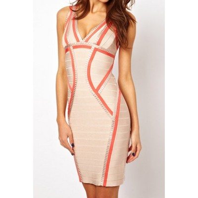 Sexy Women's Sleeveless Plunging Neckline Color Block Bodycon Bandage Dress orange