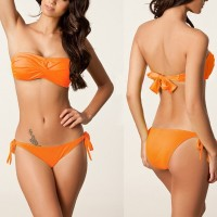 Sexy Women's Solid Color Strapless Bikini Set orange