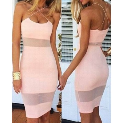Sexy Women's Spaghetti Strap Candy Color Dress white black pink