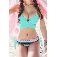 Sexy Women's Spaghetti Strap Geometric Bikini Set blue black pink