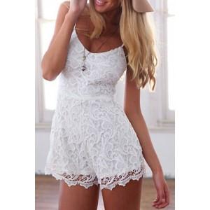 Sexy Women's Spaghetti Strap Lace Jumpsuit white
