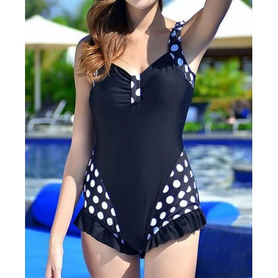 Sexy Women's Sweetheart Neckline Polka Dot Ruffled One-Piece Swimsuit black