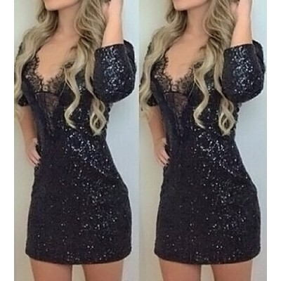 Sexy Women's V-Neck 3/4 Sleeve Sequined Lace Dress