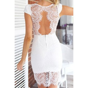 Sexy Women's V-Neck Cap Sleeve Backless Lace Dress black white