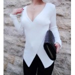 Sexy Women's V-Neck Low-Cut Candy Color Long Sleeve Sweater white black red