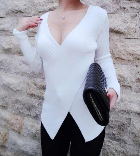 Sexy Women s V-Neck Low-Cut Candy Color Long Sleeve Sweater white black red 16d06ed83