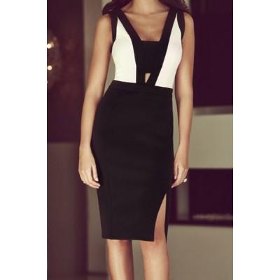 Sexy Women's V-Neck Sleeveelss Color Block Side Slit black