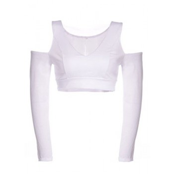 Sexy Women's V-Neck Solid Color Off The Shoulder Long Sleeve Crop Top white black