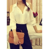 Shirt Collar Off-The-Shoulder Solid Color Stylish Blouse For Women black white
