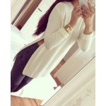 Simple Round Neck Long Sleeve Furcal Solid Color Sweater For Women white