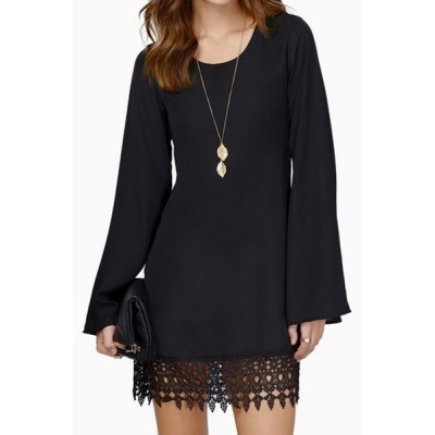 Simple Scoop Neck Long Sleeve Solid Color Laciness Dress For Women black white