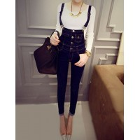 Single Breasted Slimming Casual Overalls Jeans For Women blue