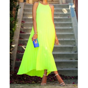 Solid Color Crumple Fashionable Round Collar Sleeveless Women's Maxi dress yellow