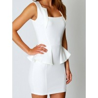 Solid Color High Waist Sleeveless Dress For Women white black