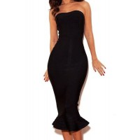 Solid Color Ruffles Sexy Strapless Women's Dress black