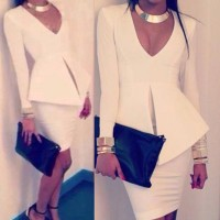 Solid Color Slimming Stylish Plunging Neck Long Sleeve Women's Dress white