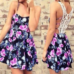 Spaghetti Strap Floral Print Hollow Out Lace Splicing Stylish Dress For Women purple