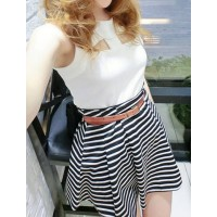 Striped Scoop Neck Cut Out Sleeveless Casual Dress For Women white