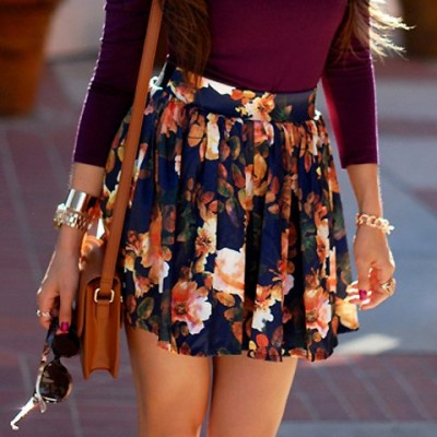 Stylish High-Waisted Floral Print Ruffled Skirt For Women