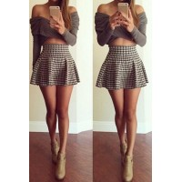 Stylish Off-The-Shoulder Long Sleeve Crop Top + High-Waisted Houndstooth Skirt Twinset For Women gray black