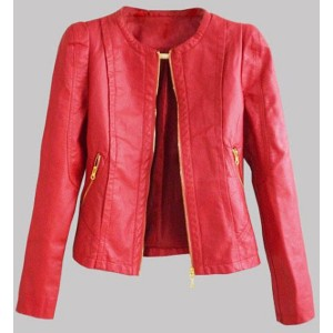 Stylish Round Neck Long Sleeve Solid Color Zippered PU Jacket For Women khaki blue red