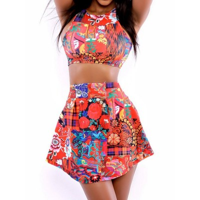 Stylish Round Neck Printed High-Waisted Two-Piece Swimsuit For Women