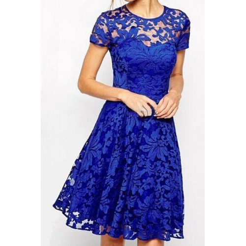 Stylish Round Neck Short Sleeve Solid Color Lace Dress For Women ... 7f29658d8