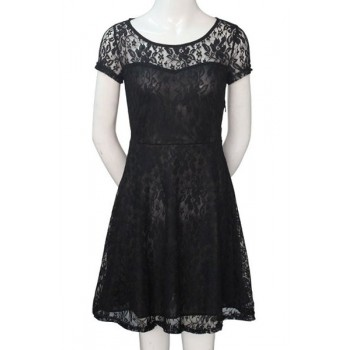 Stylish Round Neck Short Sleeve Solid Color Lace Dress For Women blue black