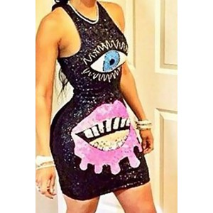 Stylish Round Neck Sleeveless Printed Bodycon Sundress For Women black