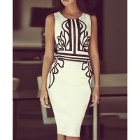 Stylish Round Neck Sleeveless Ptinted Bodycon Dress For Women white