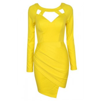 Stylish Scoop Neck Long Sleeve Solid Color Asymmetrical Dress For Women black yellow