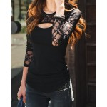 Stylish Scoop Neck Long Sleeve Solid Color Hollow Out T-Shirt For Women black