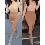 Stylish Scoop Neck Long Sleeve Solid Color T-Shirt + High-Waisted Skirt Twinset For Women