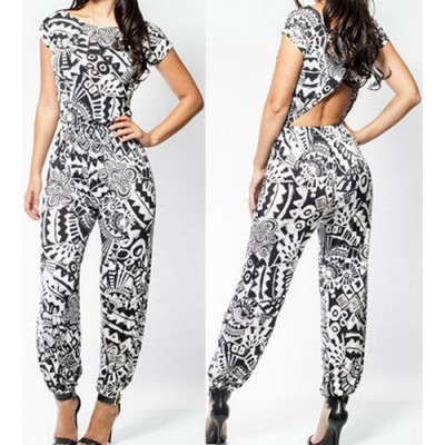 Stylish Scoop Neck Short Sleeve Printed Hollow Out Jumpsuit For Women black