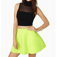 Stylish Solid Color Voile Splicing Sleeveless Crop Top For Women black