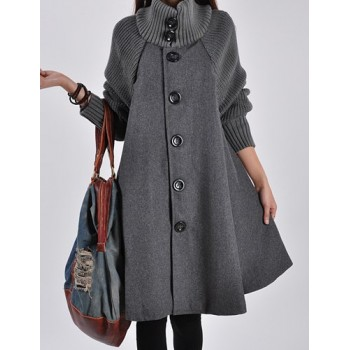 Stylish Turtle Neck Long Sleeve Spliced Button Design Coat For Women red black gray