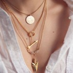 Stylish Women's Arrow Irregular Triangle Pendant Layered Necklace gold