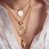 Stylish Women's Arrow Irregular Triangle Pendant Layered Necklace gold