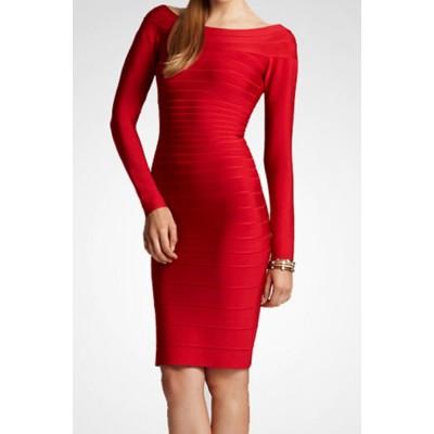 Stylish Women's Boat Neck Solid Color Long Sleeve Bandage Dress black red