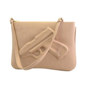 Stylish Women's Crossbody Bag With Solid Color and Gun Pattern Design black brown khaki pink