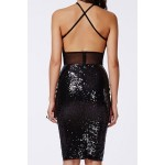Stylish Women's Halter Sequined Mesh Splicing Backless Dress black