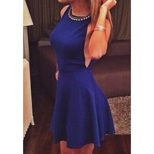 Stylish Women's Halter Sleeveless Dress blue