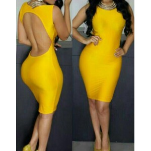 Stylish Women's Jewel Neck Backless Yellow Bodycon Dress