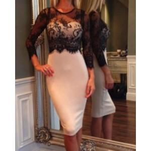 Stylish Women's Jewel Neck Long Sleeve Lace Splicing Dress black
