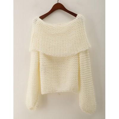 Stylish Women's Off-The-Shoulder Long Sleeve Loose-Fitting Sweater pink white khaki