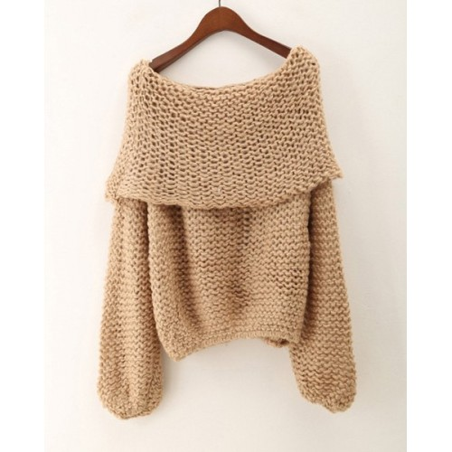 Stylish Women s Off-The-Shoulder Long Sleeve Loose-Fitting Sweater ...