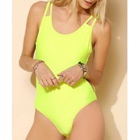 Stylish Women's Scoop Neck Backless One-Piece Swimsuit yellow