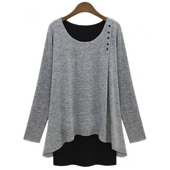 Stylish Women's Scoop Neck Faux Twinset Design Long Sleeve T-Shirt blue gray