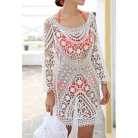 Stylish Women's Scoop Neck Long Sleeve Openwork Beachwear white